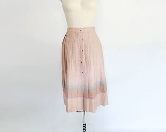 Vintage blush pink wool button down pleated skirt with ombre stripe detail dusty rose neutral midi preppy style vintage fashion high waist