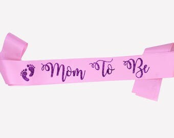Mom To Be Sash, Pink Sash, Maternity photo prop, Pregnancy Sash, Baby Sash, Mum to be sash, Baby Shower gift, Gender reveal,  18 colours