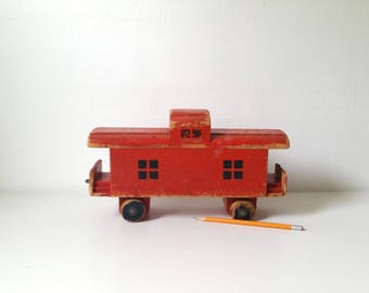 Vintage Wooden Toy Caboose . Antique Toy Train Car . Large Wood Red Toy Caboose . Collectible Toy Train . Primitive Toy Train . Home Decor