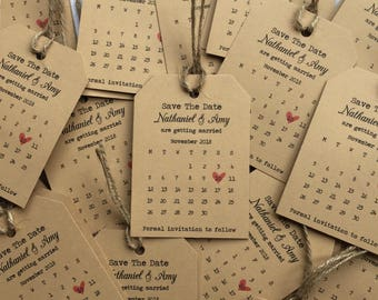 Magnetic Tags Save the date Calendar with twine