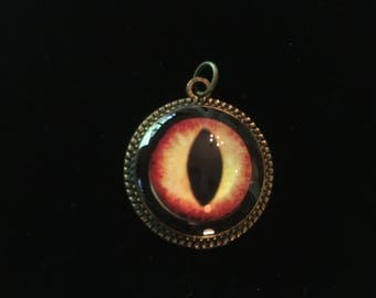 Spooky eye in yellow and red. Eye Resin Necklace