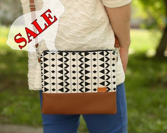 SALE Purse Crossbody bags Gift for women Handbags Shoulder bag Crossbody purse Black and white Faux Leather purse Bag Summer Gift