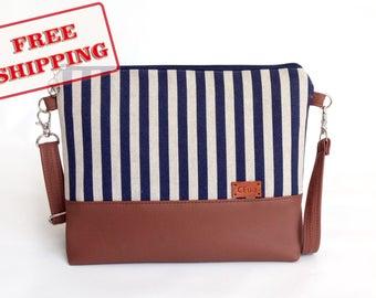 Striped Crossbody bag Clutch bag Bridesmaid gift Blue canvas purse Cotton handbag Gift for wife Feather Handbags