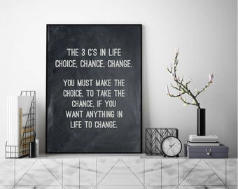 Make The Change Quote, Modern Wall Art, Modern Art Print, Typography Art,