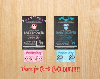 Owl Baby Shower Invitation Boy and Girl - Chalkboard Baby Shower Invitations - Boy - Girl - Blue - Pink - Baby
