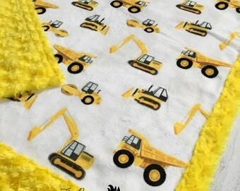 Tonka Blanket - Construction Blanket - Minky Blanket - Designer Minky -Yellow