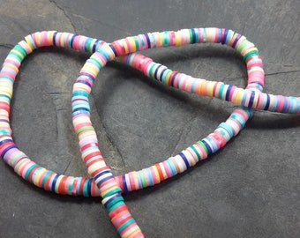 400 pcs, 1 row of 47 cm, beads rondelles spacer beads, fimo slices, multicolored, polymer clay