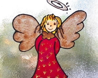 Christmas Angel Window Decal, Little Angel, Angel Glass Decoration