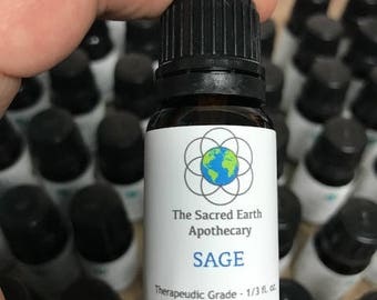 Sage Certified Organic Essential Oil Pure Therapeutic Grade - 10 ml