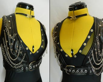 Black faux leather cropped studded vest with chains