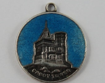 Enamel Cabot Tower Sterling Silver Vintage Charm For Bracelet
