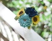 Dahlia, Mum, and Baby Sunflower Felt Flower Bouquet / Ready-To-Ship Handmade Merino Wool-Blend Forever Flowers / Nursery or Home Decor
