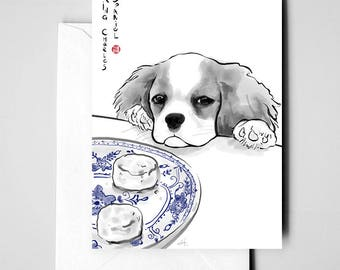 King Charles Spaniel Card, International Doggy Sumi-e Painting Illustration Asian England Zen Art Cute Ink Drawing Dog Lover