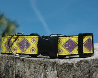 "1""Multicolored Pet Collar〰Gold Stamped Print-Pet Accessories-Adjustable Length-Quick Release Buckle-Embroidered-Custom Collar-Dog/Pet Colla"