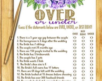 Bridal Shower Game - Over or Under - Purple Floral - Instant Printable Digital Download - diy Bridal Shower Printables Wedding Activity