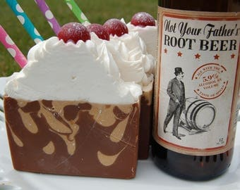 Root Beer Float Soap made with Not Your Father's Root Beer - Root Beer Float - Beer Soap - Novelty Soap - Vintage Diner Decor - Large Soap
