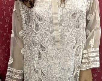 Indian Kurti - Lucknow Hand Embroidery Chikankari-  Indian Ethnic Kurti Kurta Tunic-CROCHET WORK on Flair- Mukaish Work-OFF White