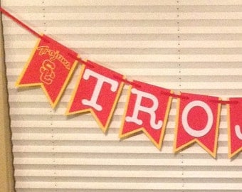 Usc Trojans Banner - Usc Banner - Trojans Banner - Usc Birthday Banner - Usc Birthday Decor - Usc Anniversary - Usc Logo Banner - Usc Party