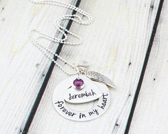 Sterling Silver Memorial Necklace - Hand Stamped Memorial Jewelry - Custom Remembrance Necklace - Personalized Angel Memorial Necklace