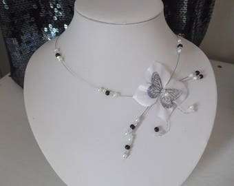Butterfly white silk flower bridal wedding necklace black sequin beads evening ceremony parties