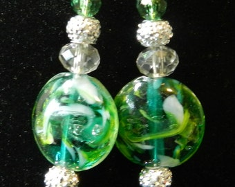 Handcrafted Earrings, Green Glass with Silver or Gold Tone, Crystals, Glass, and Others, Stunning