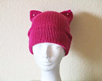 Girlfriend gift idea Pink pussy hat Knit pussy hat Crochet cat hat Kitty cat hat Pink kitty beanie Knit cat hat Cat ears hat pussy cap hat