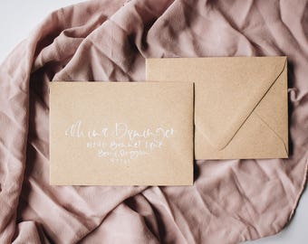 Kraft Envelope with White Ink Calligraphy, Kraft Wedding Envelope, Wedding Envelope, Handlettered Envelope