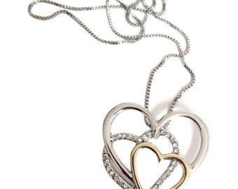 Tri Metal Heart Necklace
