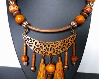 "Ethnic ""Axum"" bib necklace, stone gemstone, wood beads and copper, natural leather, tassels"