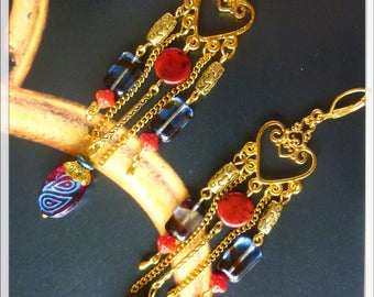 "Bohemian earrings ""URUK"" gold tone filigree, red and blue Czech glass, chain and gold beads"
