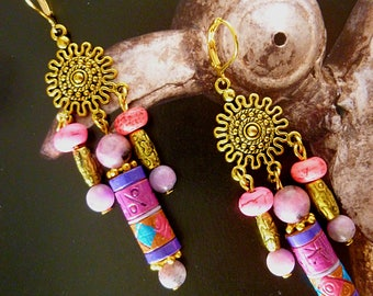 "Pierced ear ethnic ""Adobe"", gold tone metal, gemstones, ceramic, purple Jasper, howlite fuchsia"