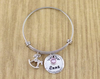 Silver Rocking Horse Bracelet • Little Girls Bracelet • Little Girls Bangle • Little Girls Charm Bangle • Available In Womens/Teen Size Too