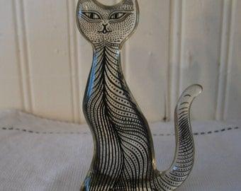 "Cat Abraham Palatnik Lucite sides very thin stained dark (OP Art) sandwiched inside C 1960-4 ""haut.figurine, trinket."