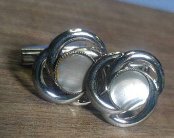 Silvertone and Mother of Pearl Cuff Links Cufflinks