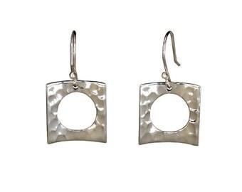 Square drop earrings, sterling silver hammered drops, women jewelry, metallic earrings, geometric jewellery, open square dangle earring