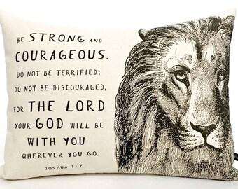 Christian Lion Scripture pillow cover Joshua 1:9 Prayer cushion 12x16 cotton canvas Bible Christian gift #314 FlossieandRay