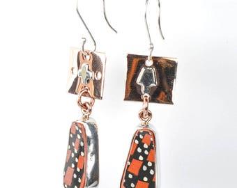 Mata Ortíz Copper & silver  Monarch Butterfly Earrings
