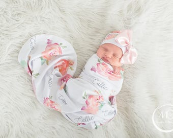 Baby blankets etsy hk floral baby blanket personalized swaddle pink peonies photo prop pink peach negle Images