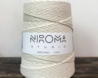 3 mm Cotton macrame string, bulk cord, macrame cord, craft string, macrame twine, macrame rope, cotton rope, cotton string, natural cotton