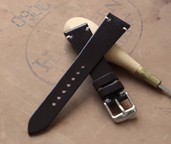 20/16mm Color #8 Horween Shell Cordovan watch band - simple side stitch