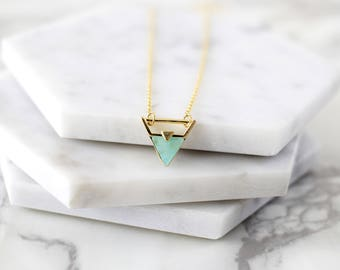 Gold Triangle with Mint Stone Necklace, Mint Triangle Necklace, Bridesmaid Gift, Birthday Gift, Boho Necklace, Dainty Necklace,7067