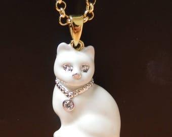 Enamelled White Cat Pendant