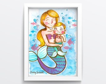Mermaid Mommy Print - 5x7 // Darby Scebold  // Hand illustrated