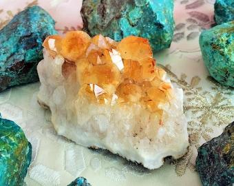 Citrine Crystal Cluster w/ Reiki Perfect for Healing, Chakras, Meditation, Home Decor
