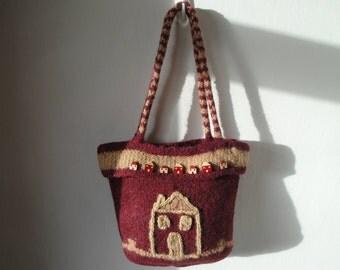 knit and felt purse, wine color handbag, wool felt bag, OOAK felt purse, deep red bag, house design purse, burgundy felt bag, funky felt bag