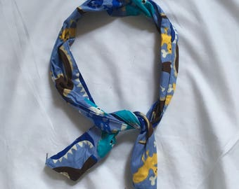 Vintage Rokit blue dinosaur wire hair wrap Headscarf indie kitsch