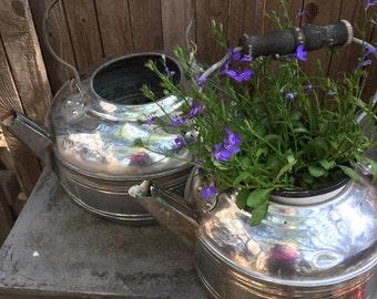 Vintage set of 2 large Revere kettles for planter or craft use, chrome,aluminum wooden handles no lids patina farmhouse decor outdoor decor