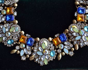 Statement necklace, crystal statement necklace, collar necklace, chunky necklace, shiny necklace, colorful necklace, choker, bib (770)