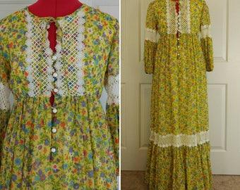 1960s Yellow Floral Prairie Dress Size XS/S