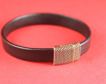 5B/5 MADE in EUROPE zamak magnetic clasp, 10mm flat copper clasp, 10mm cord beaded magnetic clasp, copper magnetic clasp (Tm10x2GRTC) Qty1